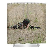 Belgian Paratroopers On Guard Shower Curtain