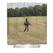 Belgian Paratroopers Proceeding Shower Curtain by Luc De Jaeger