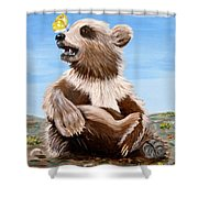 Ben Bear And Butterfly Shower Curtain