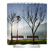 Bench And Trees Shower Curtain