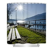 Bench In Backlight Shower Curtain