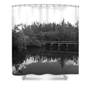 Big Sky On The North Fork River In Black And White Shower Curtain