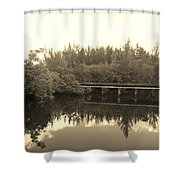 Big Sky On The North Fork River In Sepia Shower Curtain