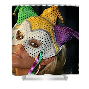 Blond Woman With Mask Shower Curtain by Henrik Lehnerer