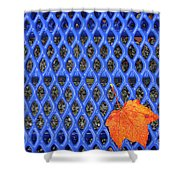 Blue Bench And Autumn Leaves Shower Curtain