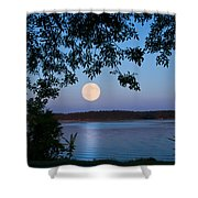 Blue Moon Of August  Shower Curtain