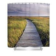 Boardwalk Along The Salt Marsh Shower Curtain