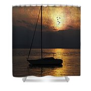 Boat In Sunset Shower Curtain by Joana Kruse