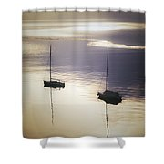 Boats In Mist Shower Curtain