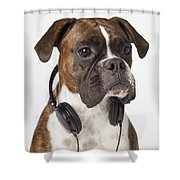 Boxer Dog With Headphones Shower Curtain