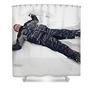 Boy And Snow Angel Shower Curtain