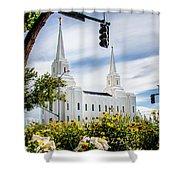 Brigham City Temple Street Lights Shower Curtain