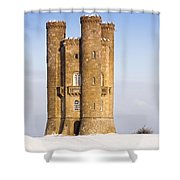 Broadway Tower In Winter Snow Shower Curtain