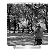 Bubble Boy Of Central Park In Black And White Shower Curtain