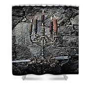 Candle Holder And Sword Shower Curtain by Joana Kruse