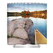 Canoe At A Rocky Shore Autumn Nature Scenery Shower Curtain