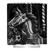 Carousel Horses Mono Shower Curtain
