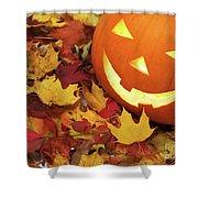 Carved Pumpkin On Fallen Leaves Shower Curtain