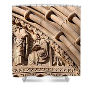 Carved Stone Biblical Mural Above Catholic Cathedral Doorway Shower Curtain