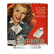 Chesterfield Cigarette Ad Shower Curtain by Granger