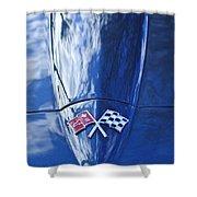 Chevrolet Corvette Hood Emblem Shower Curtain