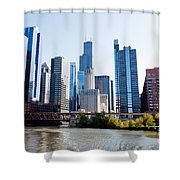 Chicago River Skyline With Sears-willis Tower Shower Curtain