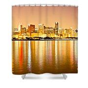 Chicago Skyline At Night Photo Shower Curtain