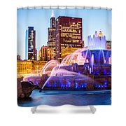 Chicago Skyline At Night With Buckingham Fountain Shower Curtain by Paul Velgos
