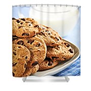 Chocolate Chip Cookies And Milk Shower Curtain by Elena Elisseeva
