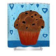 Chocolate Chip Cupcake Shower Curtain