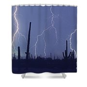 Cloud To Ground Lightning Shower Curtain