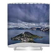 Clouds Over Crater Lake Shower Curtain