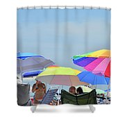 Coast Guard Beach Umbrellas Shower Curtain