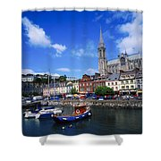 Cobh Cathedral & Harbour, Co Cork Shower Curtain