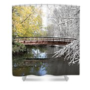 Composite Of Fall And Winter Shower Curtain