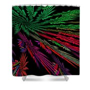 Computer Generated Red Green Abstract Fractal Flame Modern Art Shower Curtain