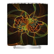 Computer Generated Yellow Vortex Abstract Fractal Flame Art Shower Curtain