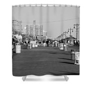 Coney Island Boardwalk In Black And White Shower Curtain
