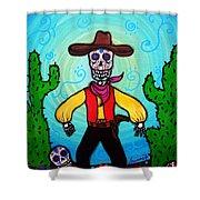 Cowboy Dia De Los Muertos Shower Curtain