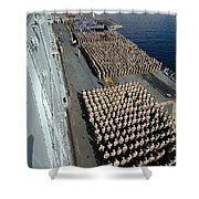 Crew Aboard The Amphibious Assault Ship Shower Curtain