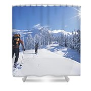 Cross-country Skiers In The Selkirk Shower Curtain