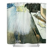 Dancer In Her Dressing Room Shower Curtain by Edgar Degas