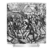 De Bry: Spanish Conquest Shower Curtain