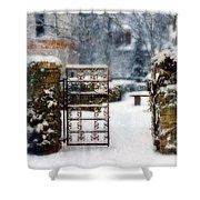 Decorative Iron Gate In Winter Shower Curtain