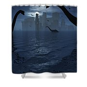 Dinosaurs Feed Near The Shores Shower Curtain