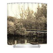 Dock On The River In Sepia Shower Curtain