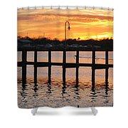Dock Sunset Shower Curtain