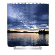 Dramatic Sunset At Lake Shower Curtain