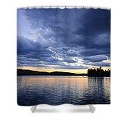 Dramatic Sunset At Lake Shower Curtain