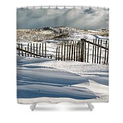 Drifting Snow Along The Beach Fences At Nauset Beach In Orleans  Shower Curtain
